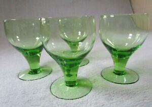4 Beautiful Quality Vintage Green Glass Wine / Brandy Goblets On Pedestal