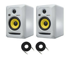2X KRK RoKit-5 G3 Active 2-way Powered Studio Monitors White w/Free Cables RP5G3