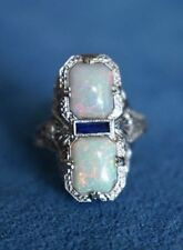 Vintage White Gold Filled Fire Opal Ring Women Wedding Engagement Jewelry Sz6-10