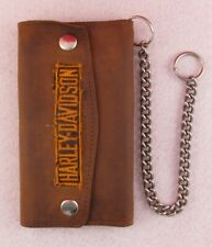 """Distressed 7"""" Trifold Harley Davidson Leather Biker Trucker Chain Wallet Patch"""