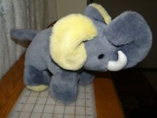 "Rare Elephant Plush - 14"" - Grey w yellow lining in ears Stuffed Animal"