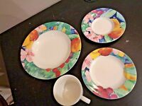 4 Pieces Soup Bowl Bread Plate Cup & Saucer in Mikasa Maxima Exotic Garden Cak26