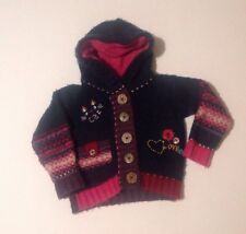 NEXT Baby Girls multicoloured Knitted Floral Hooded Jumper Jacket 12-18 Months