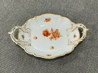 Vintage Antique German Nymphenburg Porcelain Trinket Dish Red & Gold Floral Dec.