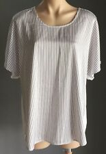 SUSSAN  White & Black Stripe Short Sleeve Oversize Blouse/Top Size XXL/18 NWOT