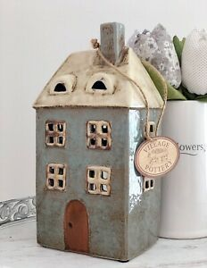 Ceramic Duck Egg Tall Village Pottery Country Cottage Ornament Tea Light Holder