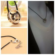Mens Roman Numerals Leather Rope Cord Necklace Double Rings Pendant Necklace Hot