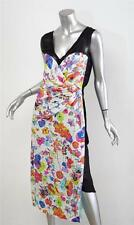MARC JACOBS Womens White Colorful Floral Silk Sheer Panel Cocktail Dress 12