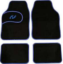Universal Non-slip Carpet Foot Print Floor Well Car Mats Black&Blue Boarder 4pc