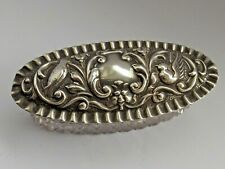 More details for solid silver lidded glass trinket box green man birds birmingham 1903 a&jz
