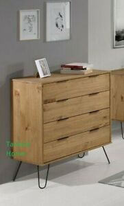 Retro Augusta Solid Wood Waxed Pine Chest of Drawers Metal Legs - 4 Drawer Chest
