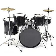Drum Set 5 PC Complete Adult Set Cymbals Full Size Black New Drum Set