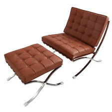 Retro Barcelon-a Style Lounge Chair and Ottoman genuine Leather Folding chair