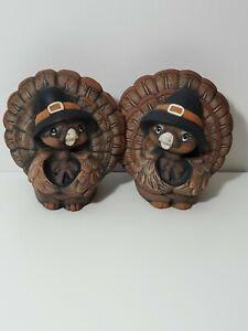 Ceramic Turkey Wearing Pilgrim Hats Candleholders Hand Painted set of 2