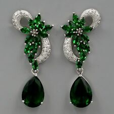 18K White Gold Plated Emerald Cubic Zirconia CZ Wedding Drop Dangle Earrings 477