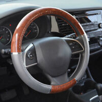 Wood Grain Steering Wheel Cover For Auto Car SUV Lux Grip Gray Car Accessories