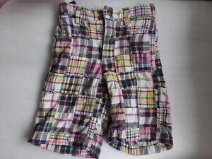 Boys GAP Plaid Patchwork Cotton ADJUSTABLE WAIST Pink Green Shorts Size 4 Years
