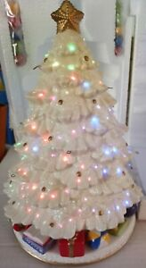 Vintage Avon Fiber Optic Porcelain Ceramic Lighted Christmas Tree W/Box