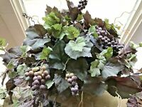 Artificial Plant Basket New Realistic Silk Evergreen Grape Arrangement NWT Deal