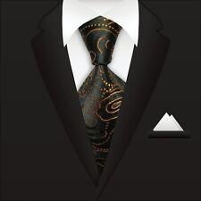 Men's Orange Black Paisley Ties 100% Silk JACQUARD WOVEN Suits Tie Necktie A087
