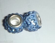 European Bead PALE BLUE SHAMBALLA DISCO RESIN Crystals Charm Bead AUS Seller