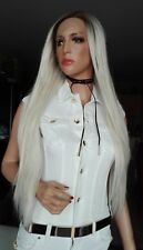 European platinum  blonde straight hair. Dark Root lace front wig.human