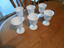"lot of 6  unmarked Harvest Grapevine pattern milk glass  5.25"" tall goblets"