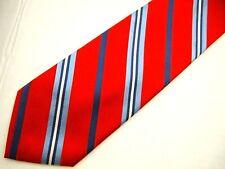 """Tommy Hilfiger Mens Necktie Tie Red Navy Blue White Striped Repp 58"""""""