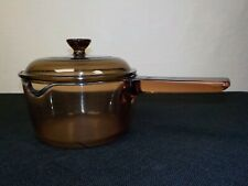 Vision Corning Amber Glass Saucepan w/ Spout and Lid 1 L