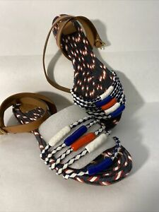 Tory Burch Flat Gladiator Sandals Red White & Blue Weaved Size 7 Excellent!