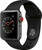 Apple Watch 3 (GPS + Cellular) 38mm Space Gray with Black Sport Band MTGH2LL/A