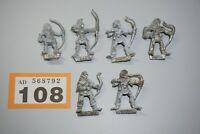 Warhammer Fantasy Wood Elves Silvan Wood Elf x 6 Metal OOP LOT 108