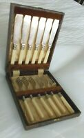 Vintage EPNS set of 6 Forks and Knives with Case Silver Plated cutlery UK