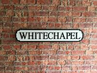 WHITECHAPEL Vintage Wood London Street Road Sign