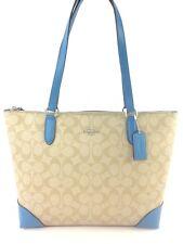 Coach F29208 Zip Top Tote In Signature Canvas Handbag Shoulder Bag Purse Blue