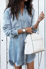 UK Womens Denim Long Sleeve Tassel Blouse Tops Mini Dress Ladies Casual T-Shirt