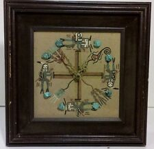 SOUTHWESTERN SAND Painting CLOCK Turquoise Nuggets works mantel table battery