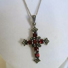 Sterling Cross with Red Garnets & Marcasite Pendant & 18 in Chain 6.8g [3278]