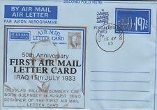 B 2989 Guernsey 1983 aerogramme  celebrating 1st Air Mail Letter Card use Iraq