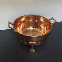 "Old Dutch Intl. 6"" Decor Copper Footed Colander w/solid Brass Handles"
