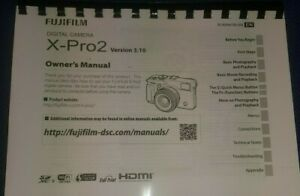 FUJIFILM X-PRO2 PRINTED INSTRUCTION MANUAL USER GUIDE 192 PAGES A5