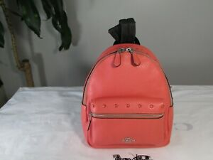 NWT Coach Leather Border Studded Mini Charlie Backpack F45070 Coral