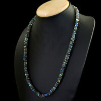 Blue Flash Labradorite 172.00 Cts Earth Mined Untreated Beads Necklace (DG)