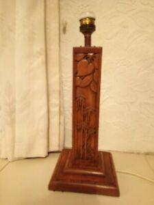 Carved wood lamp base on the Japanese syyle