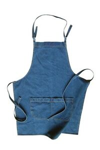 Apron Chefs Cooking Two Front Pockets DIY mid weight Denim stonewashed One size