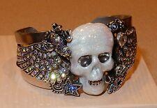 Kirk's Folly Cuff Bracelet Rhinestone Rock Star Skull Wings New