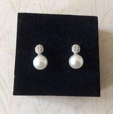 Vintage Design Pearl and Crystal Earrings