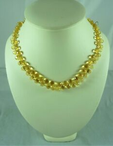 FABULOUS NEW UNUSED 9CT/K YELLOW GOLD  CITRINE BRIOLETTE NECKLACE ST#7781