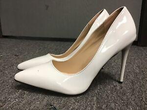 "White patent high heel pumps crossdresser trans 4.5"" heel size 11, sz 44"