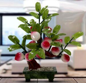 12 Peach Jade Plant Bonsai Hardstone Gemstone Tree Fruit Plant Feng Shui Decor